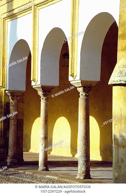 Arcade in Patio de los Naranjos. Mosque cathedral, Cordoba, Spain