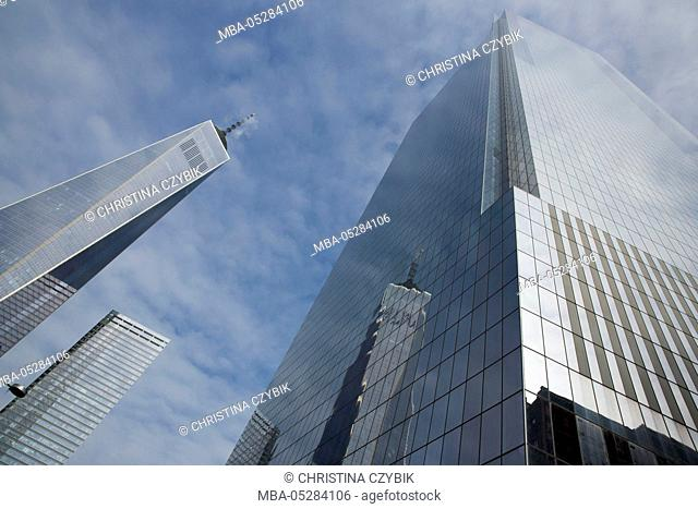 1 WTC or One World Trade Center with the World Trade Center Memorial Site in Manhattan, New York