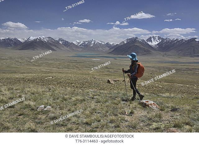 Looking into the Great Pamir Range of Afghanistan while trekking near Lake Zorkul, Tajikistan