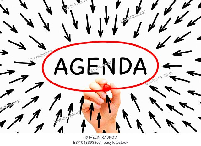 Hand drawing Agenda arrows concept with marker on transparent wipe board isolated on white
