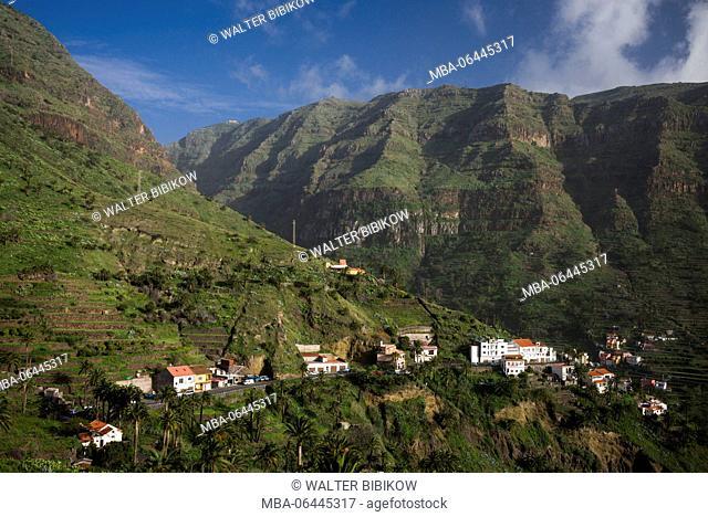Spain, Canary Islands, La Gomera, Valle Gran Rey, elevated valley view