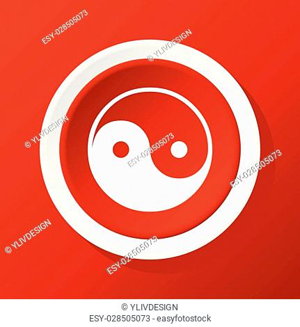 Round white icon with image of ying yang, on red background