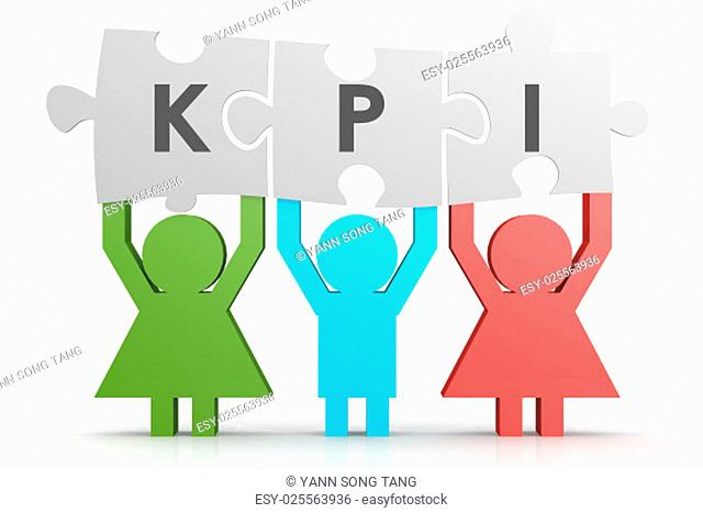 KPI - Key Performance Indicator puzzle in a line image with hi-res rendered artwork that could be used for any graphic design