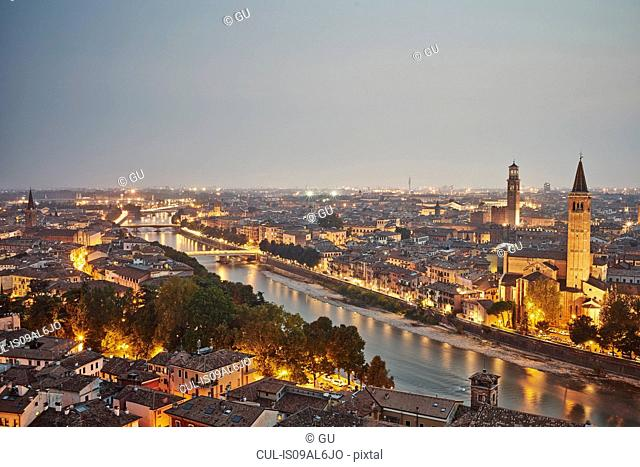 Elevated view of Verona, Italy, at dusk