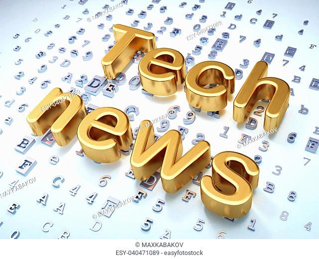 News concept: Golden Tech News on digital background, 3d render