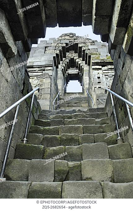 Indonesia-Java-Borobudur, Staircase leading to the Main Stupa, view from 3rd Gallery