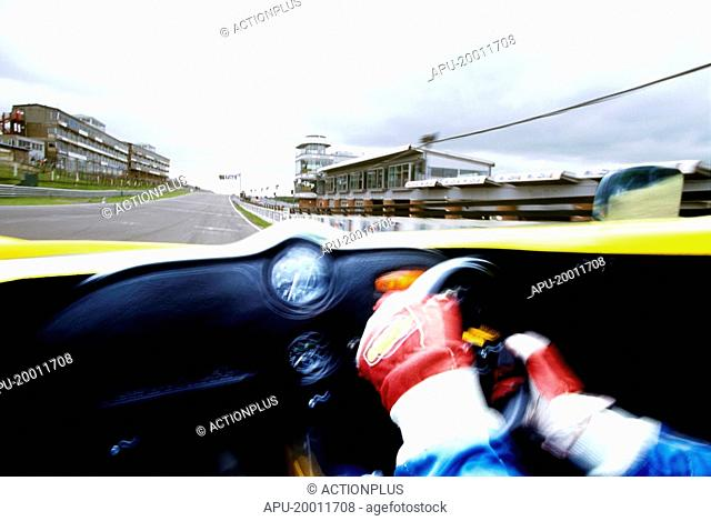 View of race track from racing car