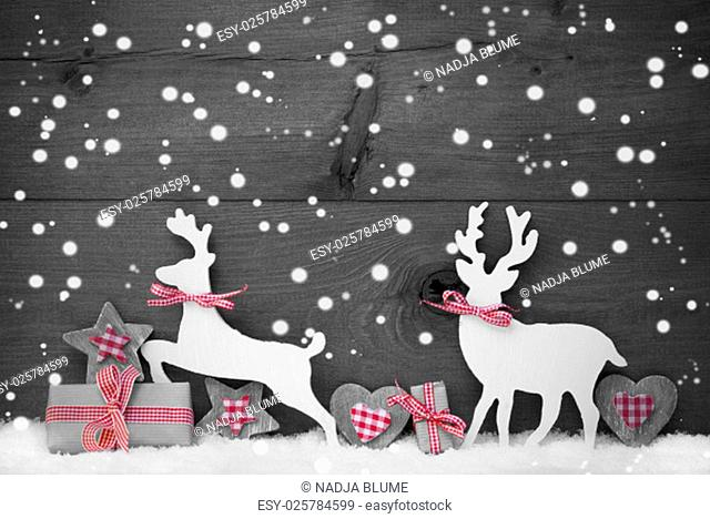 Christmas Decoration With Reindeer Couple In Love On White Snow, Snowflakes. Christmas Gift, Present, Ribbon, Heart, Star