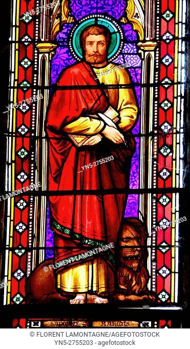 Stained glass window of Saint Marc, Auvillar, Aude, Tarn et Garonne, Occitanie