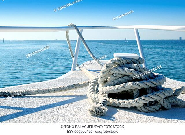 Boat white bow in tropical Caribbean sea summer relax vacations