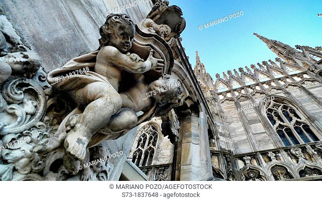 Statue in Duomo di Milano gothic cathedral church, Milan, Italy