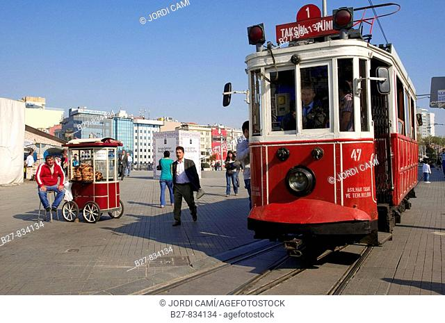 The old tramway at Taksim Square Istanbul Turkey