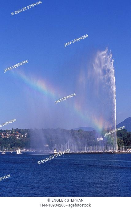 Switzerland, Europe, Genève, Geneva, scenery, panorama, Jet d'eau, fountain, canton, town, city, lake, Lac Léman, lake Geneva