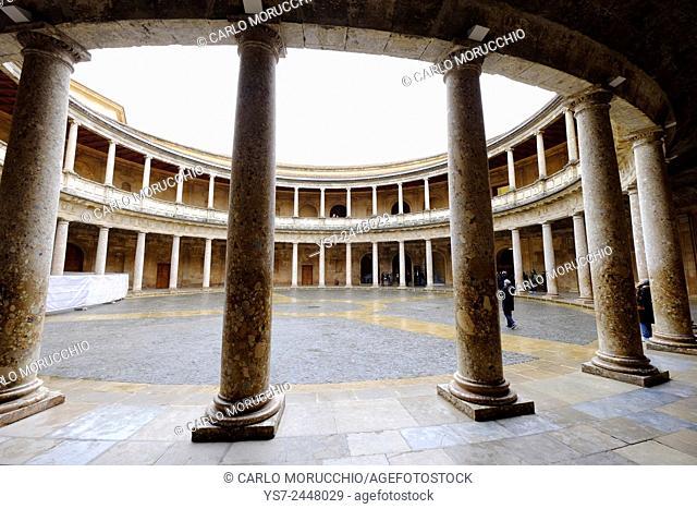 Carlo V Palace, The Alhambra, Granada, Andalucia, Spain, Europe