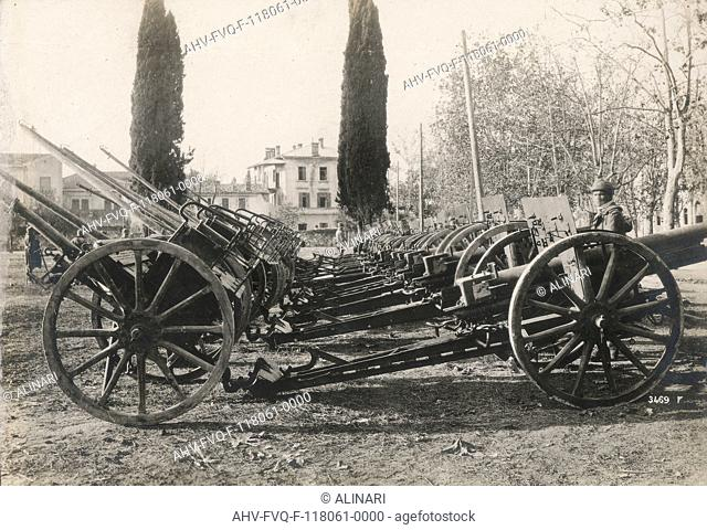 Austrian Artillery cannons captured during the First World War, shot 1914-1917