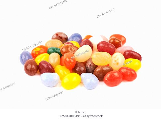 Pile of jelly bean candies isolated over the white background