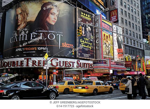 New York, New York City, NYC, Midtown, Manhattan, Times Square, Theatre District, Broadway, illuminated sign, spectaculars, billboards, Camelot, Addams Family