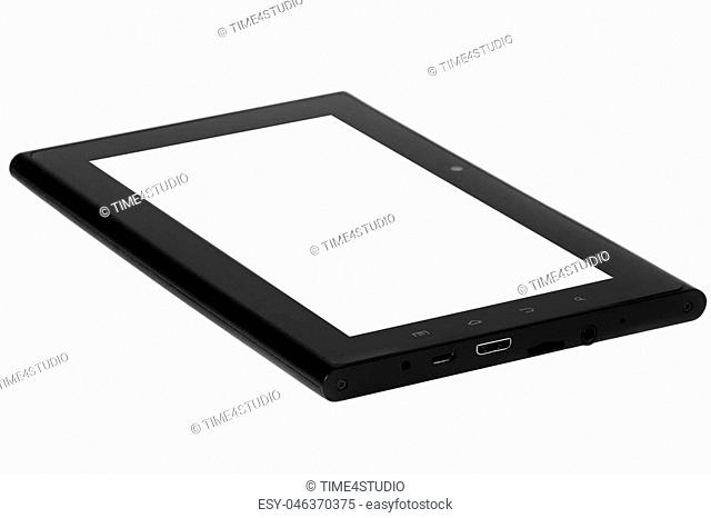 Tablet black on white background cutout isolated without screen side tv