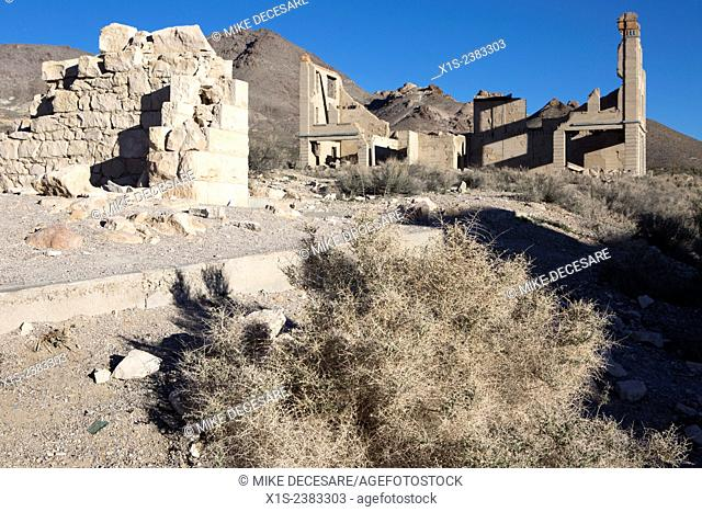 Rhyolite ghost town in Death Valley was once a thriving community during the gold rush era, but is deserted today