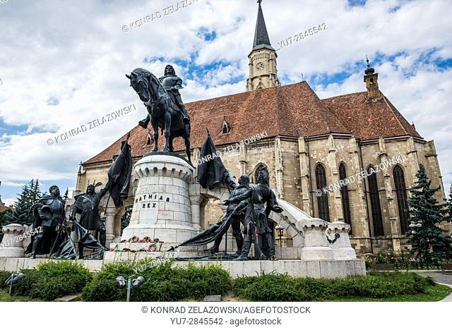 Monument of Matthias Corvinus located in front of gothic style Church of Saint Michale on Union Square in Cluj Napoca city in Romania