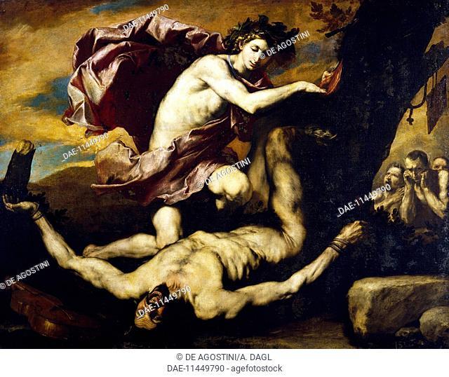 Apollo and Marsyas, 1637, by Jose de Ribera known as Spagnoletto (1591-1652), oil on canvas, 182x232 cm.  Naples, Museo Nazionale Di San Martino (Art Museum)