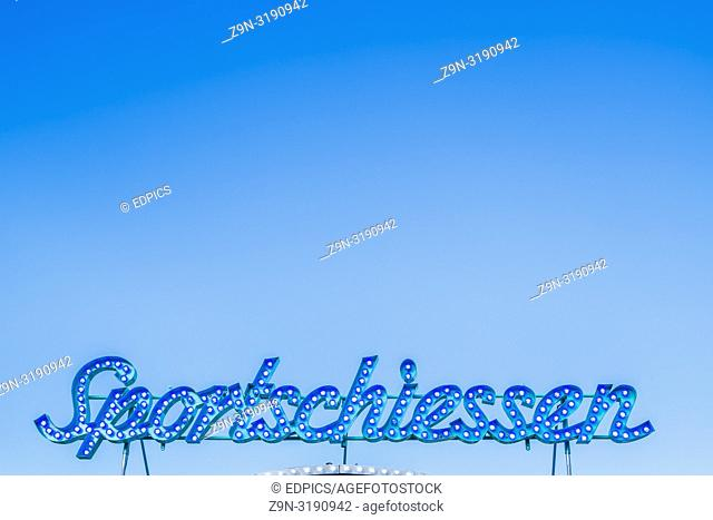 "neon sign """"sportschiessen"""", """"shooting sport"""", ,stuttgart, baden-wuerttemberg, germany"