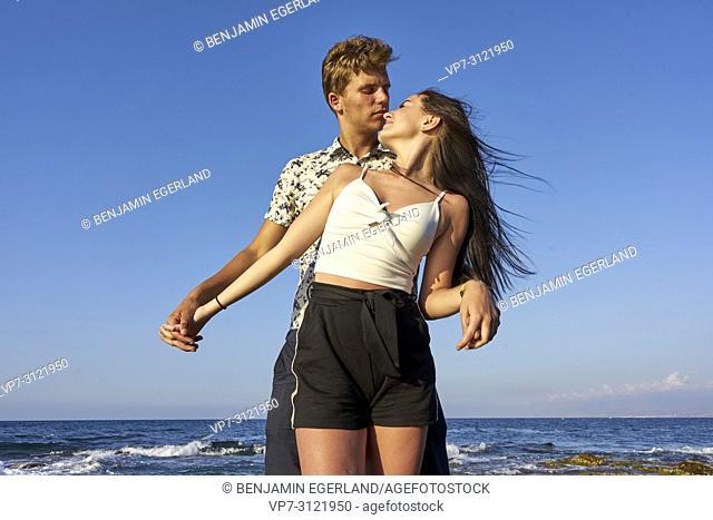 Couple, seaside, holiday, love, lovers. Chersonissos, Crete, Greece