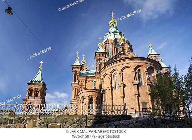 exterior detail of Uspenski orthodox church cathedral famous landmark in helsinki city finland