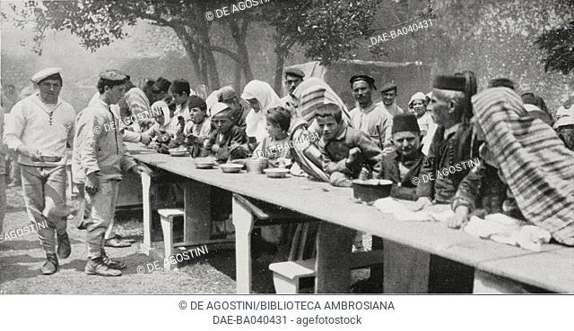 Italian and Austrian sailors distributing soup to the poor, Albania, photograph by Aldo Molinari, from L'Illustrazione Italiana, Year XL, No 23, June 8, 1913