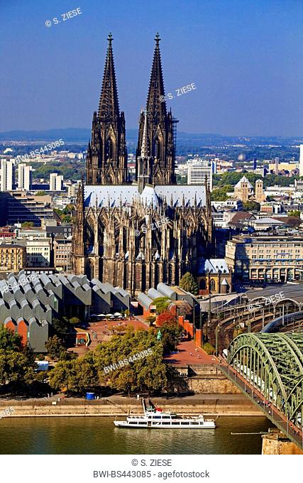 Cologne Cathedral with Museum Ludwig, Rhine and Hohenzollern Bridge, Germany, North Rhine-Westphalia, Cologne