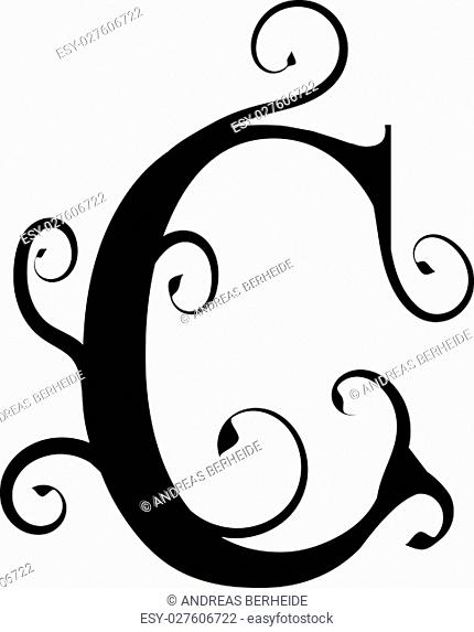 Flourish design elements with letter C, vector illustration
