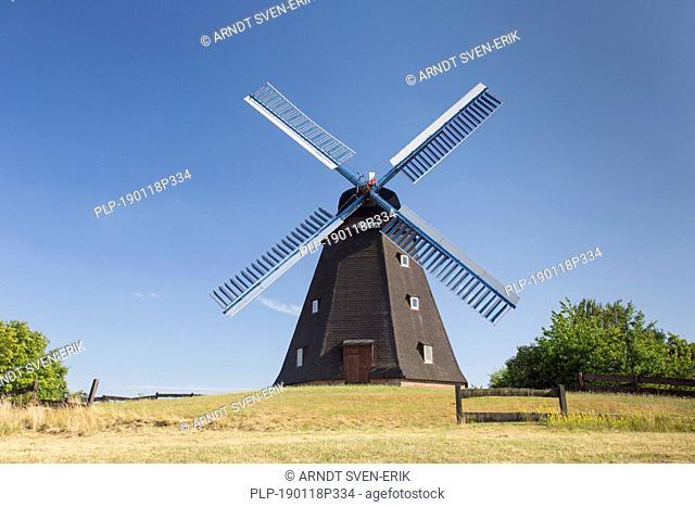 1863 windmill Paula, smock mill at Steinhude near Wunstorf, Lower Saxony / Niedersachsen, Germany