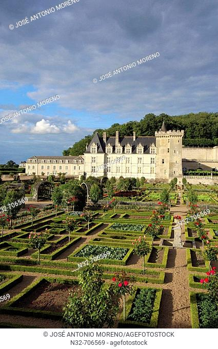 Villandry castle and gardens. Château de Villandry. Indre-et-Loire.Touraine. Loire Valley. France
