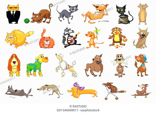 Collection of funny pets playing with ball of yarn, playing guitar, listening music, eating bone. Collection of cats and dogs different breeds
