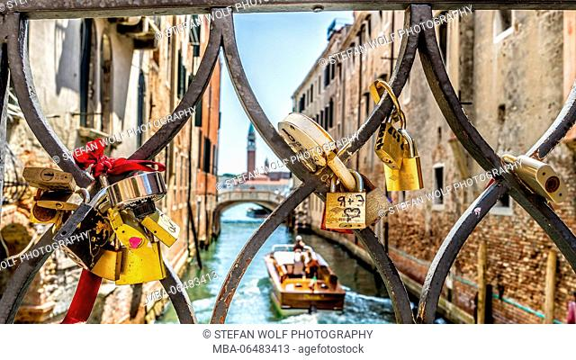 love locks in a balustrade, channel, Boat, Venice, Veneto, Italy