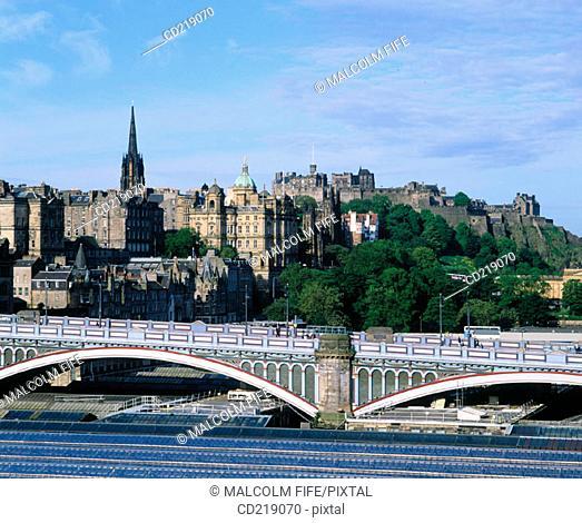 North Bridge and Old Town. Edinburgh. Scotland