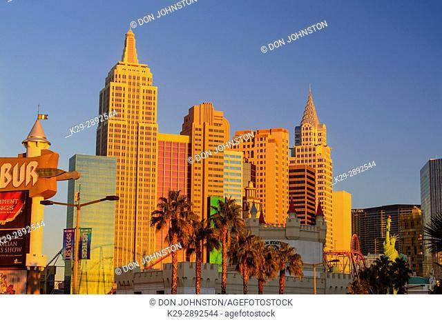 New York New York hotel casino at sunrise, Las Vegas, Nevada, USA