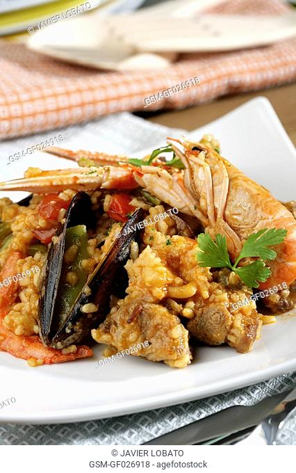 Mixed paella Spanishstyle rice with seafood