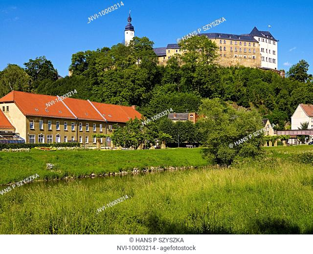 Upper Palace with White Elster River, Greiz, Thuringia, Germany