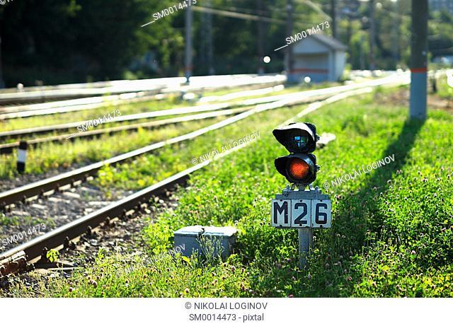 Railroad semaphore with diagonal railway background hd