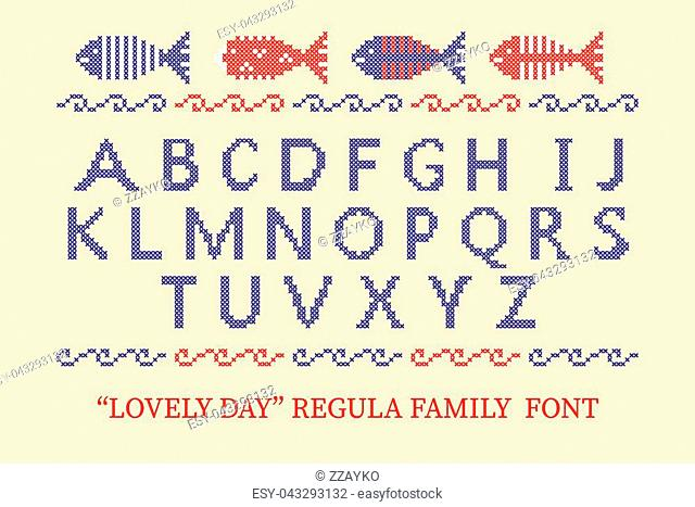 Cross stitch alphabet typeface poster. Good idea for summer, holiday, memorial Independence day posters, textile design. Vector illustration