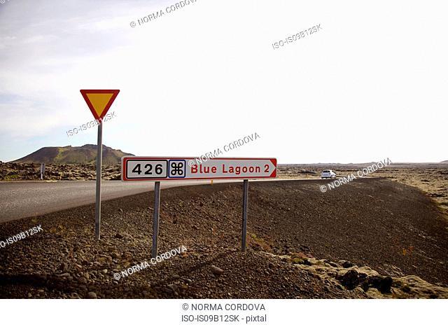 Road signs, Grindavik, Iceland