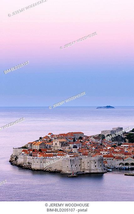 Dubrovnik city skyline at dawn, Dalmatia, Croatia