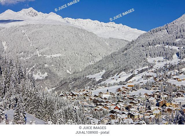 High angle view of Klosters in winter, Davos, Grisons, Switzerland