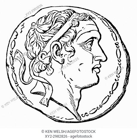 Coin depicting Seleucus IV Philopator, c. 218 - 175 BC. Ruler of the Hellenistic Seleucid Empire. From Ward and Lock's Illustrated History of the World