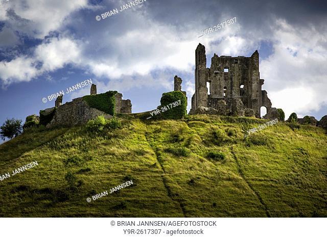 Ruins of Corfe Castle near Wareham, , Isle of Purbeck, Dorset, England