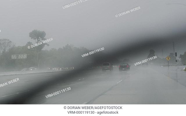 Heavy Downpour on the 405 Freeway, Southern California