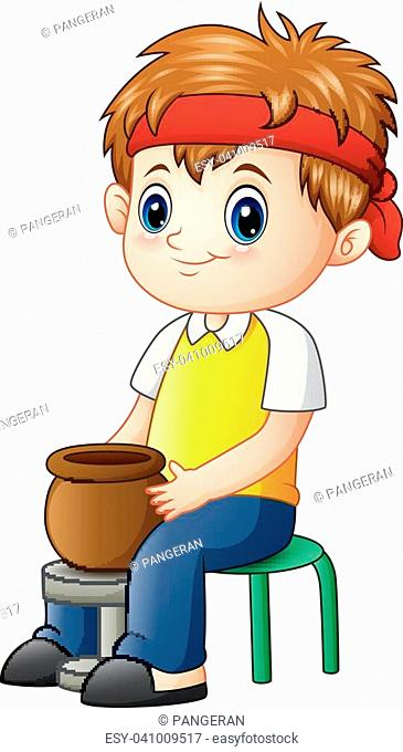 Vector illustration of Cute little boy potter makes clay pot
