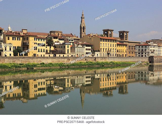 Looking across river Arno to city of Florence with the Campanile of Santa Croce and the national bibliothek, Tuscany, Italy