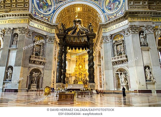 Interior of Saint Peter Basilica in the Vatican, Italy. Saint Peter's Basilica has the largest interior of any Christian church in the world